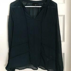 Greylin: dark emerald blouse szS